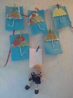 Deštník - malba akvarelem, přilepené brčko jako ručka
