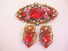 Vintage Brass Filigree Red Glass and Enamel Pin-Brooch-Earrings Set