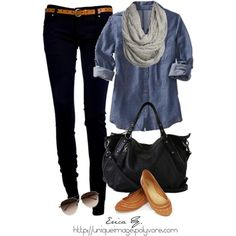 light blue button down + dark jeans + grey or a patterned scarf + light brown acc.