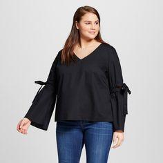 Women's Plus Size Bell Sleeve Vee