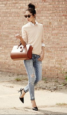 Distressed jean + lux leather bag + soft sweater + black pointy single sole pump