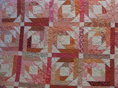 Pineapple Blossom Quilt Block diagram | Pink Pineapple Blossom quilt.