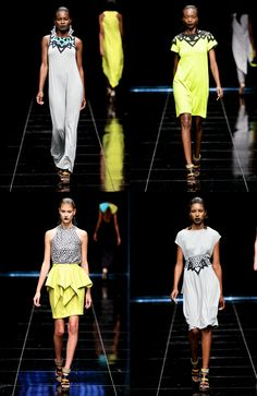 Shadders Favourite Collections from Mercedes-Benz Fashion Week Cape Town 2013 LEIGH SHUBERT  It was a triangle affair during Leigh Shubert's show, the designer approached the collection with consistency which sang the same rhythm of design structure correlating throughout with bold patterned geometric shapes blended with neon, black, white, blue and yellow colour palette.