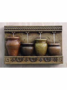 The Potted Wall Fountain features four pots. Each pot features an area upon which water flows into. This unique water feature can be placed anywhere to allow for wonderful sights and sounds of water f