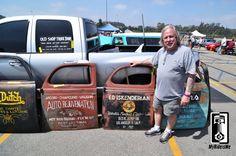 "Old Shop Truck doors custom painted as ""hot rod art"" Old Garage, Garage Art, Truck Lettering, Door Signage, Car Painting, Sign Painting, Shop Doors, Harley Davidson Posters, Pinstriping Designs"