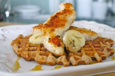 The Fit Cooks fit twist on the Southern fave - Coconut Chicken Banana Waffles! #skinny #fit #recipe #coconut #chicken #banana #waffle Courtesy of The Fit Cook!