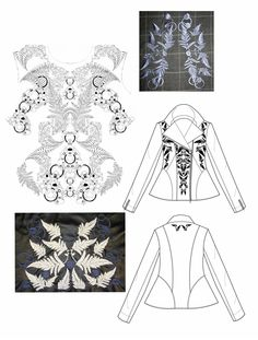 Fashion Portfolio - jacket drawings & embroidery samples; fashion design process // Chloe Sanders