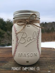 Hand-Painted Baseball Mason Jar Bank, Baby Shower Gift, Boys Birthday Gift, Sports Nursery, Baseball Nursery, Gift for Him, Mason Jars by MidnightOwlCandleCo on Etsy https://www.etsy.com/listing/222656726/hand-painted-baseball-mason-jar-bank