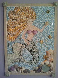 Mermaid mosaic w/ shells, sand, and vintage jewelry