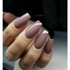 REPOST - - - - Classy Mauve-Brown on Coffin Nails - - - - Picture and Nail Design by posh_nails_sara her for more gorgeous nail art designs! Classy Nail Designs, Beautiful Nail Designs, Nail Art Designs, Nails Design, Nail Designs For Fall, Salon Design, Posh Nails, Fun Nails, Bling Nails