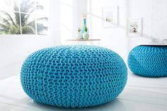 Pouf design bleu Paola 70 cm, un pouf fait main tout en coto Bean Bag Chair, Decor, Chair Design, Furniture, Pouf, Chair Decorations, Furnishings, Sofa Design, Couch Styling