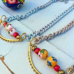 Retro inspired necklaces made with colorful #Painted beads and #vintage jewelry parts  visit my shop link in my profile #fashion #fashionlover #bohostyle #bohemian #Boho #statementnecklace #beadworknecklace #beadednecklace #gipsystyle #shabbychic #shabbystyle #chic #jewlery #jewlerylover #Etsy #Eclectic #chic #accessories #style #styling #hippie #bohochicjewelry #styleguide #styleinspiration #summercolors #retronecklace #retrostyle #etsylovers