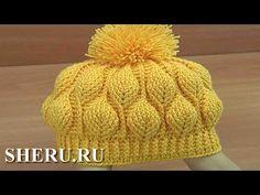 How to Crochet Beanie Hat - Video Pattern 153 Crochet Leaf Patterns, Crochet Leaves, Crochet Stitches, Crochet Beanie Hat, Beanie Hats, Knitted Hats, Crochet Hats, Sombrero A Crochet, Hat Tutorial