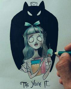 Tag You're it by Melanie Martinez meets Tim Burton. By: Alef Vernon #melaniemartinez #illustration #crybaby #timburton