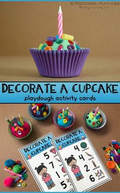 Decorate a Cupcake Playdough Activity Cards for preschool, pre-k, and kindergarten. Part of our Number Sense 1-10 Math Center Activities pack. #preschool #prek #kindergarten #homeschool #prekactivities #preschoolactivities #kidsactivities #math #numbersense #counting #playdough #cupcakes #preschoolplay #teacherspayteachers