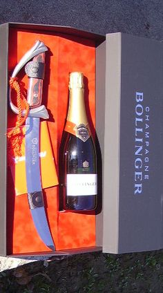 Champagne lover: Bollinger Sabrage Set - Sabrage /səˈbrɑːʒ/ is a technique for opening a Champagne bottle with a saber, used for ceremonial occasions. -ShazB
