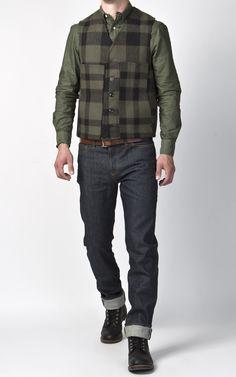 Filson Mackinaw Wool Vest Otter Green/Black