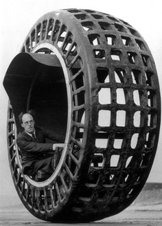 The Dynasphere, an electrically-driven wheel, invented by Mr. J. A. Purves of Taunton and his son. It had 2.5 horse power and once attained a speed of 25 mph.