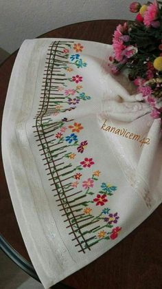 This Pin was discovered by Şen Towel Embroidery, Silk Ribbon Embroidery, Hand Embroidery Patterns, Embroidery Applique, Cross Stitch Embroidery, Machine Embroidery, Cross Stitch Borders, Cross Stitch Samplers, Cross Stitch Flowers