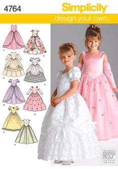 Girls Pageant Dress Pattern Flower Girl Long Gown Full Size 3 - 4 - 5 - 6 Uncut Simplicity 4764 Design Your Own by PrettyfulPatterns on Etsy Girls Special Occasion Dresses, Girls Easter Dresses, Little Girl Dresses, Princess Dress Patterns, Girl Dress Patterns, Princess Dresses, Princess Flower, Princess Costumes, Princess Party