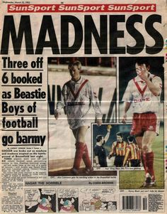 Airdrie 2 Partick Th. 2 in March 1993 at Broomfield Park. Report from a newspaper on a busy night for officials #Prem