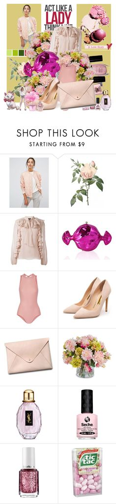 """Act like a lady, think like a boss"" by alongcametwiggy ❤ liked on Polyvore featuring Suncoo, Giambattista Valli, Judith Leiber, Ballet Beautiful, Rupert Sanderson, HarLex, New Growth Designs, Yves Saint Laurent, Seche and Essie"