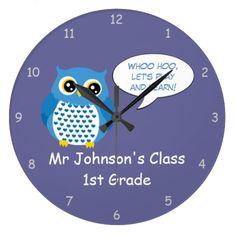 fun customizable male teacher classroom round large clock
