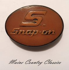 Vintage SNAP-ON TOOLS LEATHER BELT BUCKLE Great American Buckle Co. Made In USA Leather Belt Buckle, Leather Tooling, Belt Buckles, Tools, Usa, American, My Love, How To Make, Collection