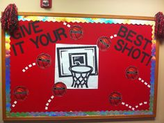 Basketball bulletin board. The basketballs have steps toward graduation printed on them. Great for high school!