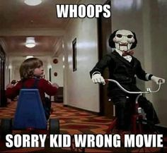 horror movies Whoops sorry. Scary Movie Memes, Horror Movies Funny, Horror Movie Characters, Classic Horror Movies, Horror Movie Quotes, Funny Halloween Memes, Horror Pics, Comedy Movies, Scary Halloween