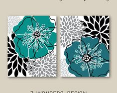 Items similar to Floral Bursts Big Stripes Art Prints, Ombre Style Modern Home Decor Set of 8 x 10 OR 11 x 14 sizes // Orange and Turquoise Gift Guide on Etsy Wall Art Sets, Wall Art Prints, Floral Wall Art, Diy Canvas Art, Abstract Flowers, Home Decor Wall Art, Diy Painting, Oeuvre D'art, Diy Art