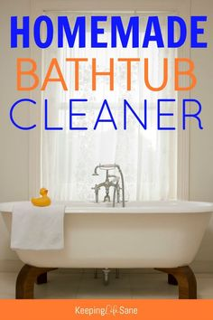 Here's a fantastic homemade bathtub cleaner that contains only 4 ingredients! It's super easy and smells great. You'll want to make it next time you clean.
