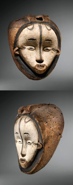 Africa | Mask from the Fang people of Gabon or southern Cameroon | Wood, kaolin and pigment | ca. prior to 1952
