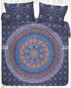 KING 0117 King Size Block Print Kantha work Bedsheet with pillowcases Mandala by MadeByMiKiShop on Etsy