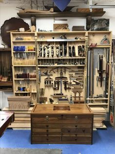 Wall hung tool cabinet and tool chest.