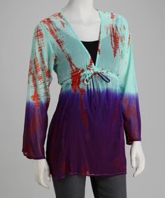 Take a look at this BHAG'S BOHO Turquoise & Purple Tie-Dye Chiffon Tunic by BHAG'S BOHO on #zulily today!