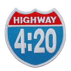 """Highway 4:20"" Interstate Road Sign Stoner Weed Smoker Iron On Applique Patch"