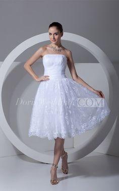 Romantic Satin Appliqued Sleeveless a Line Strapless Wedding Dresses