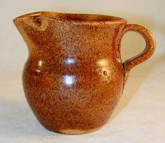 Antique Manganese Glazed Speckled Brown Redware Creamer Jugtown Pottery North Carolina