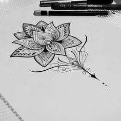 dessins de tatouage 2019 I like the pointy part of this - Tattoo Designs Photo Lotusblume Tattoo, Mandala Tattoo, Piercing Tattoo, Piercings, Time Tattoos, Body Art Tattoos, Sleeve Tattoos, Tatoos, Upper Back Tattoos