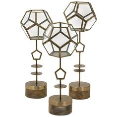 Jada Terrarium Stands - Set of 3 ($139) ❤ liked on Polyvore featuring home, home decor, floral decor, home decorators collection, bronze bowl, succulent terrarium, bronze home decor and succulent plant terrarium
