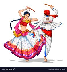 Dress Design Sketches, Girl Drawing Sketches, Art Drawings Sketches Simple, Fashion Sketches, Indian Women Painting, Indian Art Paintings, Happy Navratri Status, Navratri Images, Rajasthani Art