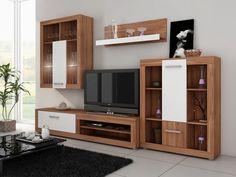 Moderná obývacia stena Viki je vhodná ako do malých tak aj vačších priestorov. K štyrom prvkom si v prípade potreby môžete priobjednať priestranný regál a šatníkovú skriňu. Na výber máte až z ôsmich farebných kombinácií. Svojim dizajnom dokonale skrášli priestor Vašej obývacej izby. Farebné prevedenie vyobrazeného produktu je farba dreva slivka v kombinácii s prvkami v bielej farbe.