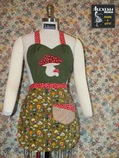 Toadstool mushroom Kitchen Apron Black forest by Alexenia on Etsy, $38.00