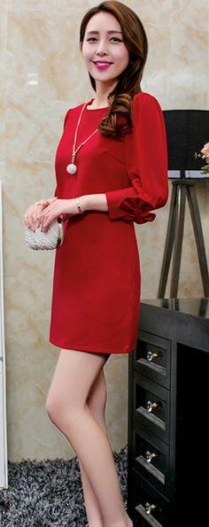 Red Mini #Elegant Dress with Half Chiffon Bow Sleeves YRB0702