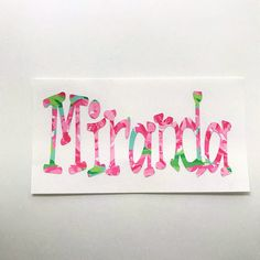 Lilly Pulitzer Inspired Name Personalized Decal for Car