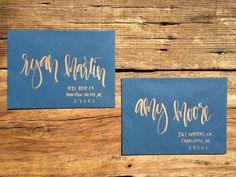 Copper and Navy Calligraphy Envelope von AntlersandPeonies auf Etsy