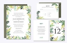 Watercolor Meadow Wedding Suite by origamiprints on @creativemarket