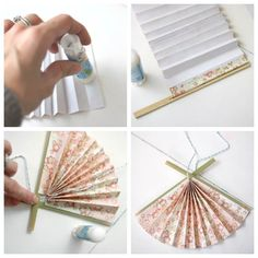 Create DIY Japanese Paper Fan with dollar store items for unique Christmas ornaments. Add global style to your seasonal decor this year! Japanese Birthday, Japanese Party, Japanese Dinner, Diy Japanese Decorations, Unique Christmas Ornaments, Christmas Crafts, Japanese Ornaments, Book Crafts, Diy Crafts