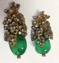 Vintage Miriam Haskell Ornate Green Stone Rheinstone Earrings Clip